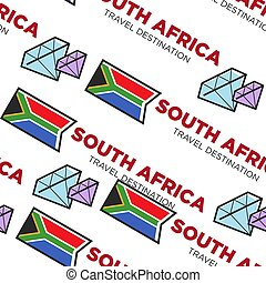 South Africa travel destination seamless pattern national flag and crystals