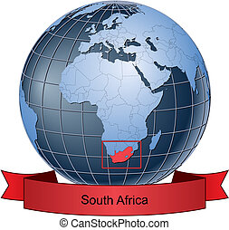 South Africa, position on the globe Vector version with...
