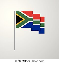 South Africa waving Flag creative background