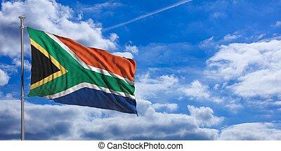 South Africa waving flag on blue sky. 3d illustration -...