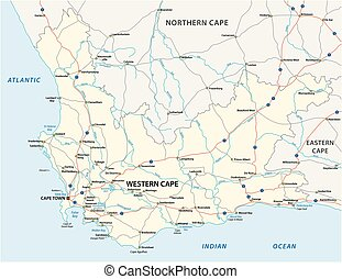 south africa western cape province road vector map