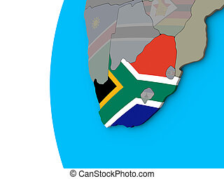 South Africa with flag on 3D globe