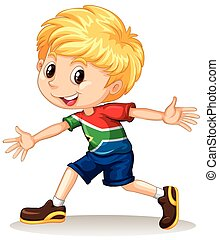 South African boy smiling illustration