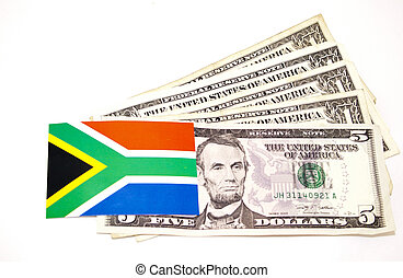 South African Flag On Five American Dollar Notes