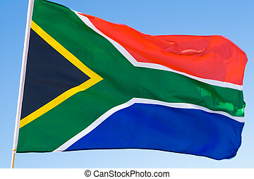south african flag blowing in the wind