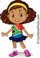 South African girl standing alone illustration