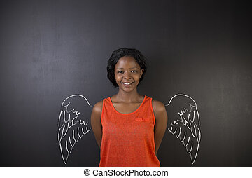 South African or African American woman teacher or student angel with chalk wings