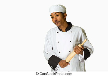 chef with rolling pin