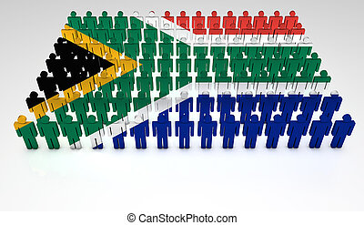 South African Parade - Parade of 3d people forming a top...