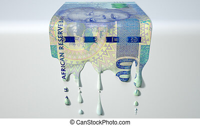 South African Rand Melting Dripping Banknote - A concept...
