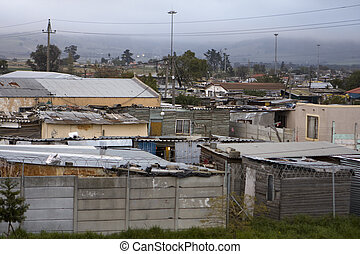 A view of the township of Wallacedene in South Africa on an overcast day.