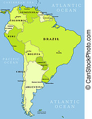 Map of South America. Political division - countries and capital ciites. Countries are separate objects, you can change color of every country.