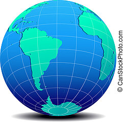 South America Africa Global World - Vector Map Icon of the...
