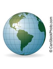South America map. Antarctica, North America, Africa.