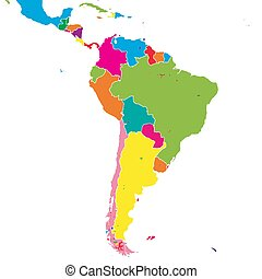 South America colorful vector map