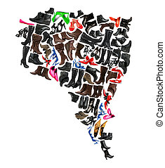 South America continent made of woman shoes