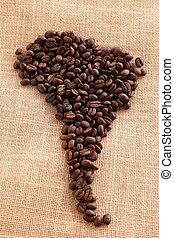 South America continent made with coffee beans on linen