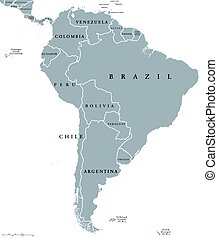 South America countries map - South America countries ...