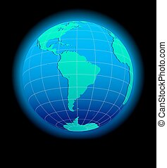 South America Global World in Space - Vector Map Icon of the...
