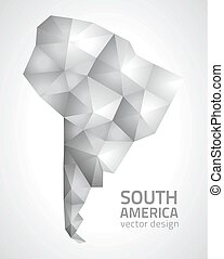 South America grey polygonal map