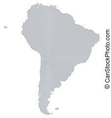 South America map gray radial dot pattern