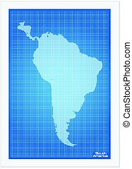 South America map on blueprint