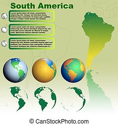 South America map on green background vector
