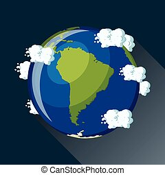 South America map on planet Earth, view from space.