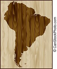 South America map on wood background - South America map on...