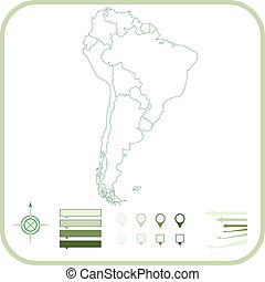 South America Map, Vector illustration.