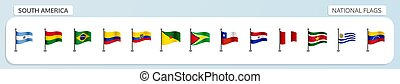 South America national flags - Vector set of national flags...