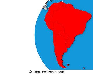 South America on 3D globe