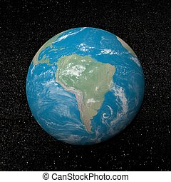 South america on earth and universe background with stars - 3D render