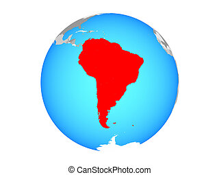 South America on globe isolated