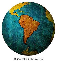 South America on globe map