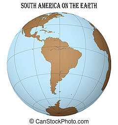 south america on the earth