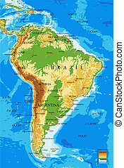 South America-physical map - Highly detailed physical map of...