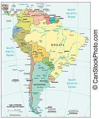 South America political map aerial view