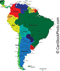 South America political map with each country selectable ...