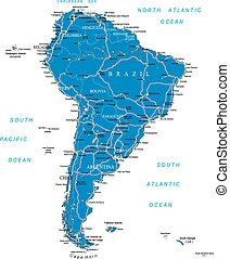 Highly detailed vector map of South America with countries, main cities and roads.