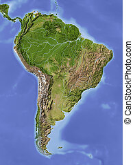 South America. Shaded relief map. Colored according to vegetation.