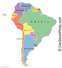 South America single states map