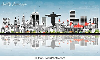 South America Skyline with Famous Landmarks and Reflections....