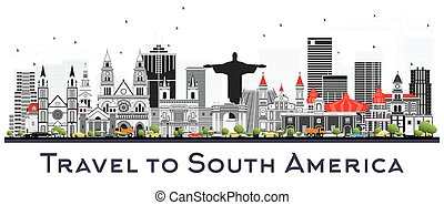 South America Skyline with Famous Landmarks Isolated on...