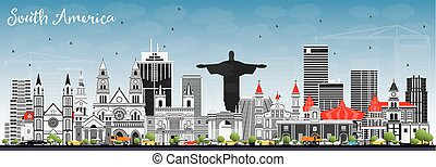 South America Skyline with Famous Landmarks. Vector...