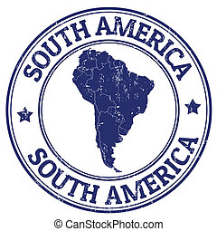 South America stamp - Grunge rubber stamp with the text...