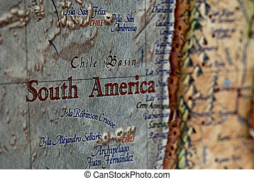 South America - a close up of the words North America on a...