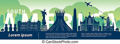 South america top famous landmark silhouette style, text within, travel and tourism, vector illustration