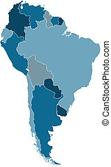 south america vector map - political map of south america in...
