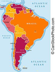 South America vector - South America political division map...